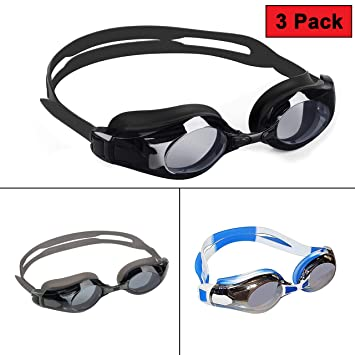 dc386e518587 Bezzee-Pro 3 pack Swimming Goggles Anti Fog UV protected Adjustable  Silicone Straps