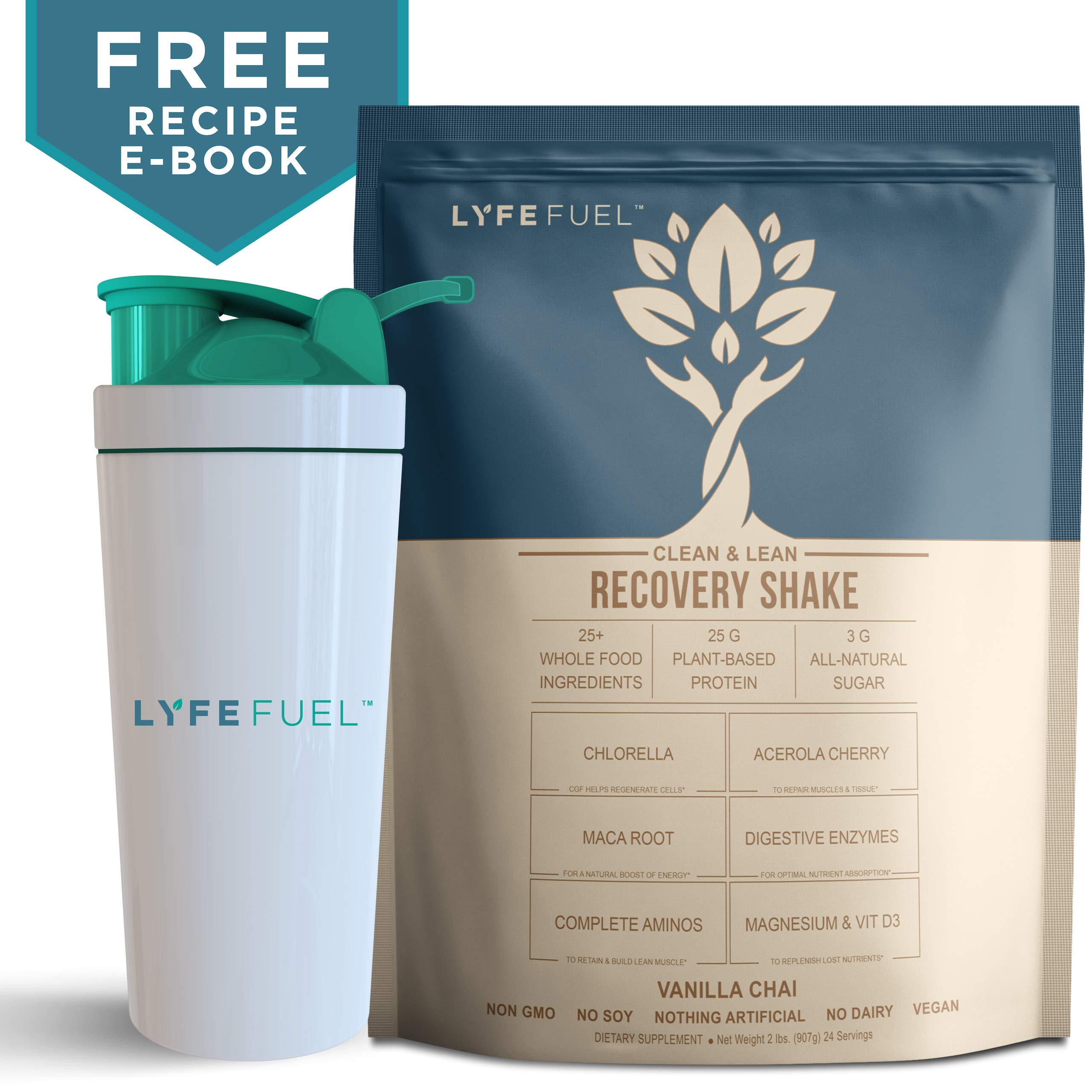 Vegan Protein Powder with Shaker Bottle by LyfeFuel - Plant Based Post-Workout Superfood Mix for Recovery & Muscle Building (Large Bag, Vanilla Chai)