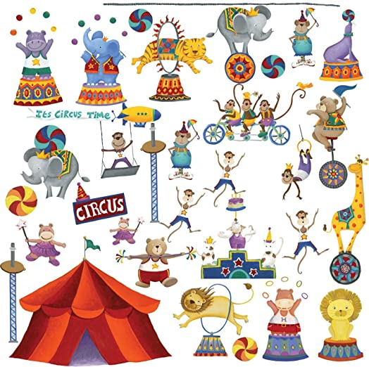 RoomMates Repositionable Childrens Wall Stickers Big Top Circus Part 57