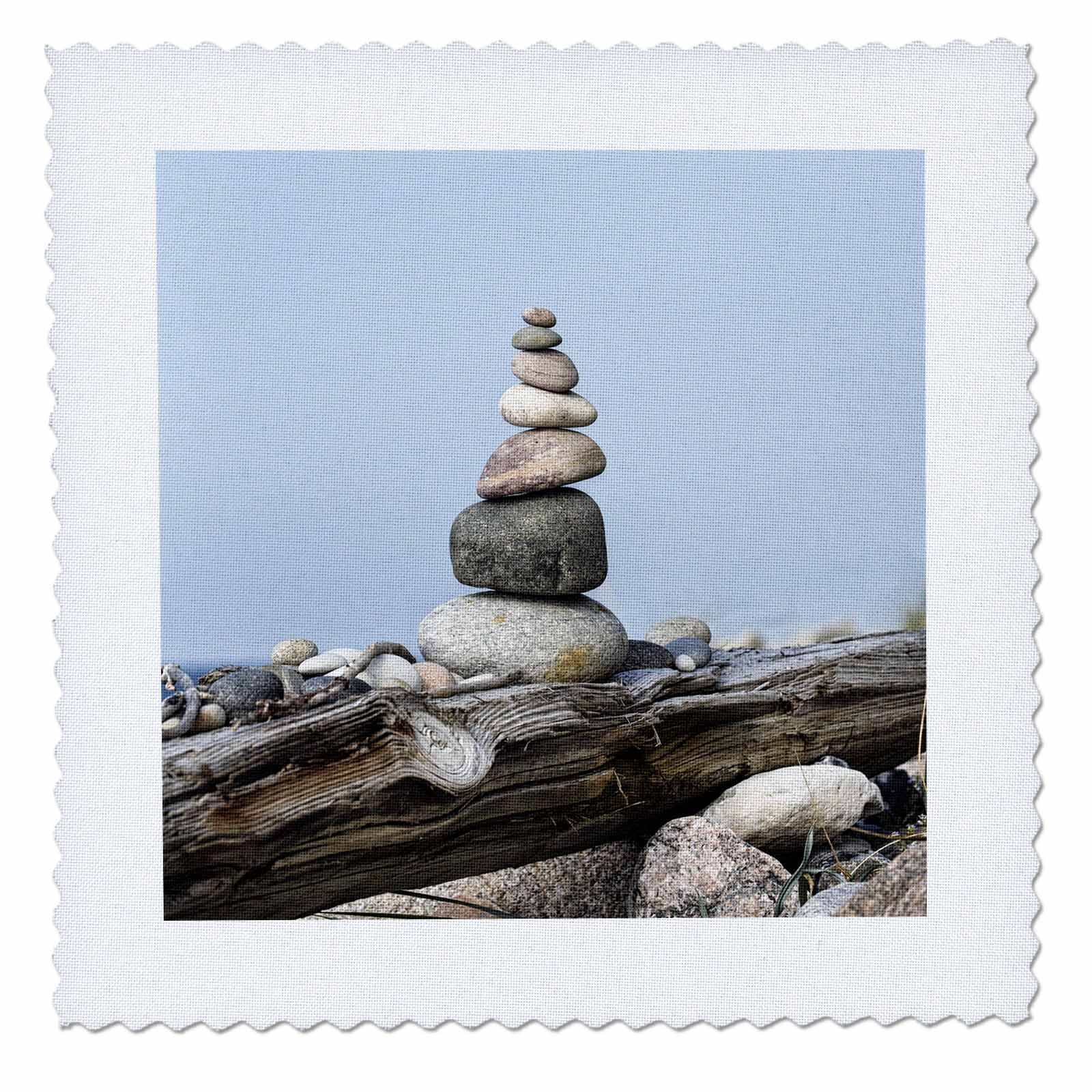 3dRose Andrea Haase Nature Photography - Balanced Stone Cairn On Driftwood With Blue Sky - 18x18 inch quilt square (qs_274831_7)