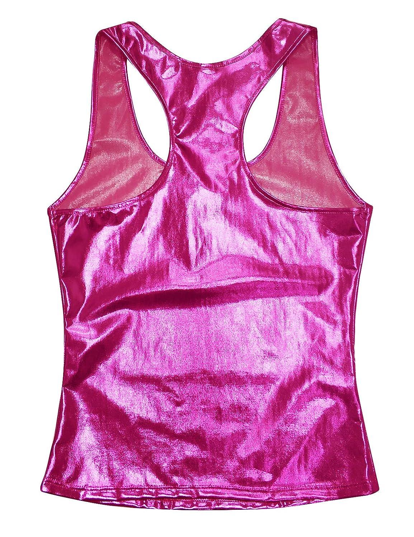 iixpin Canotta Metallic Donna Canottiera Palestra Bodybuilding Tank Top da Ballo Moderno Jazz Hip Hop Ginnastica Dancewear Pole Dance Abbigliamento Discoteca Clubwear
