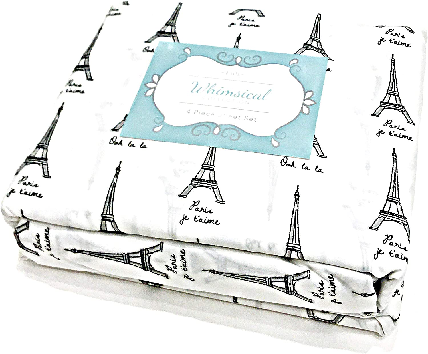 Whimsical Collection Paris Eiffel Tower 4-Piece Full Sheet Set 100/% Easy Care Polyester