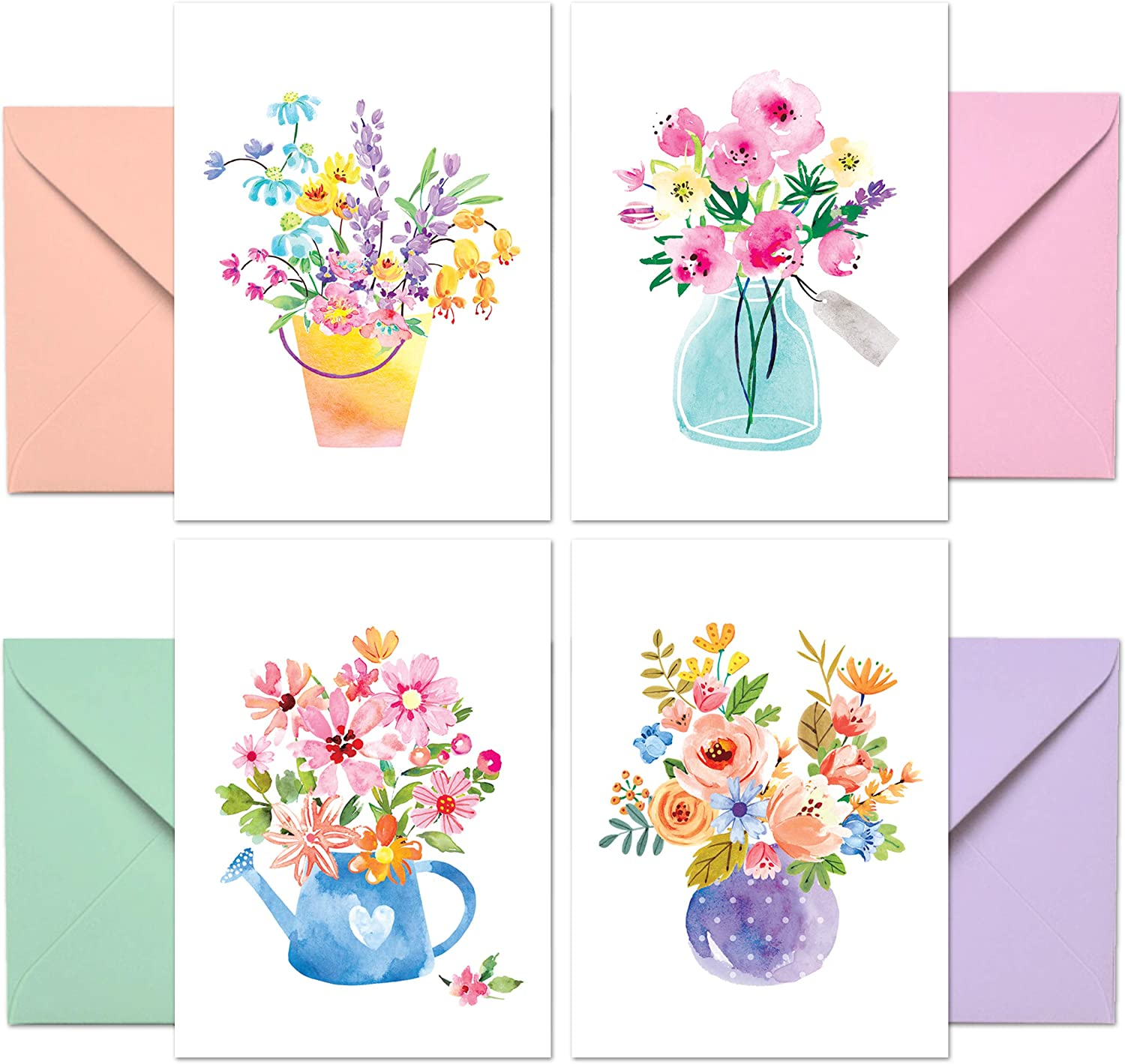 Blank Cards with Envelopes - 48 Floral Blank Note Cards with Envelopes – 4 Assorted Cards for All Occasions! Blank Notecards and Envelopes Stationary Set for Personalized Greeting Cards-4x5.5""