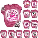 Women's Breast Cancer Awareness T-Shirt Halloween Graphic Short Sleeve Blouse Tops in October We Wear Pink Tee