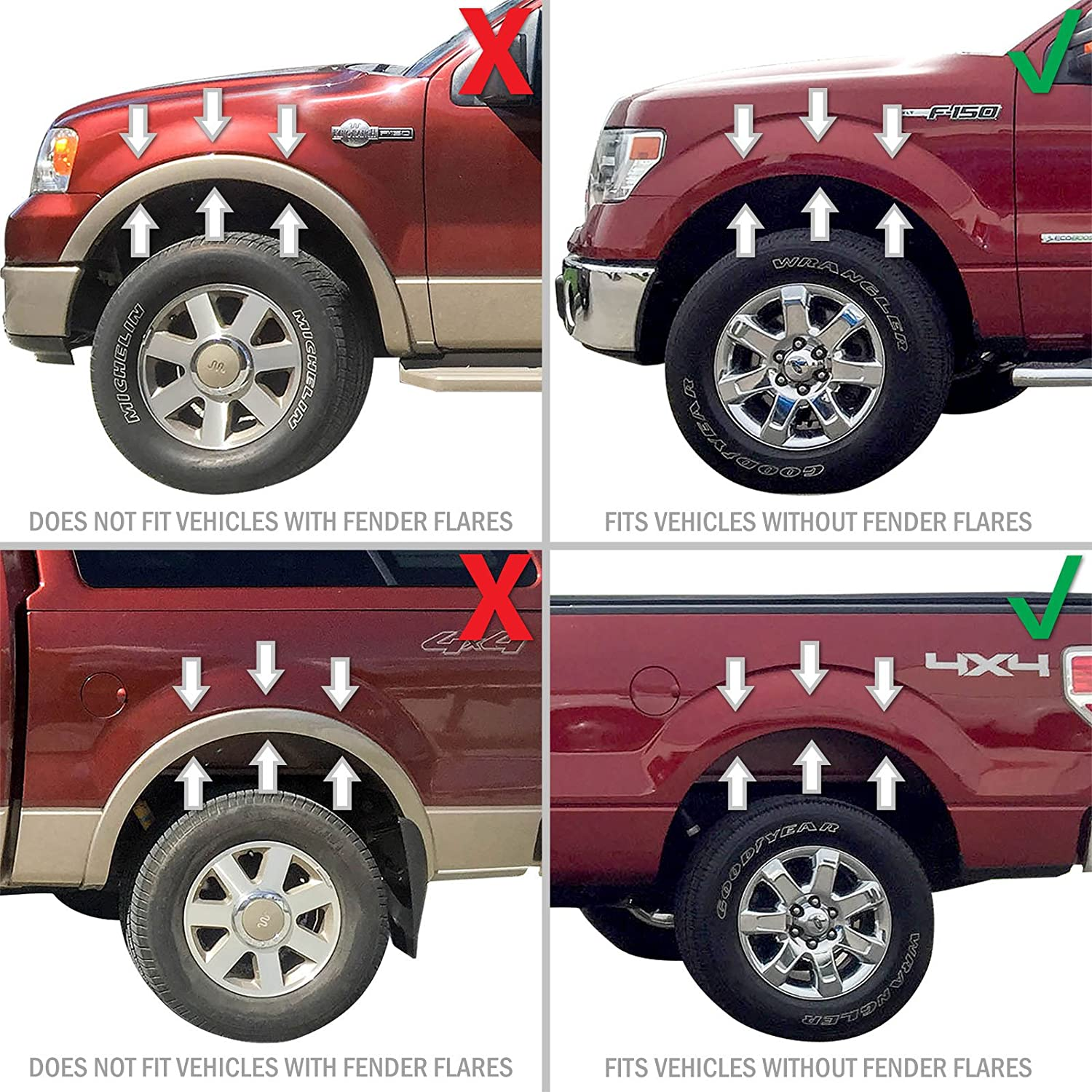 Red Hound Auto Premium Heavy Duty Molded 2004-2014 Compatible with Ford F-150 Mud Flaps Guards Splash Front Rear 4pc Set Without Fender Flares