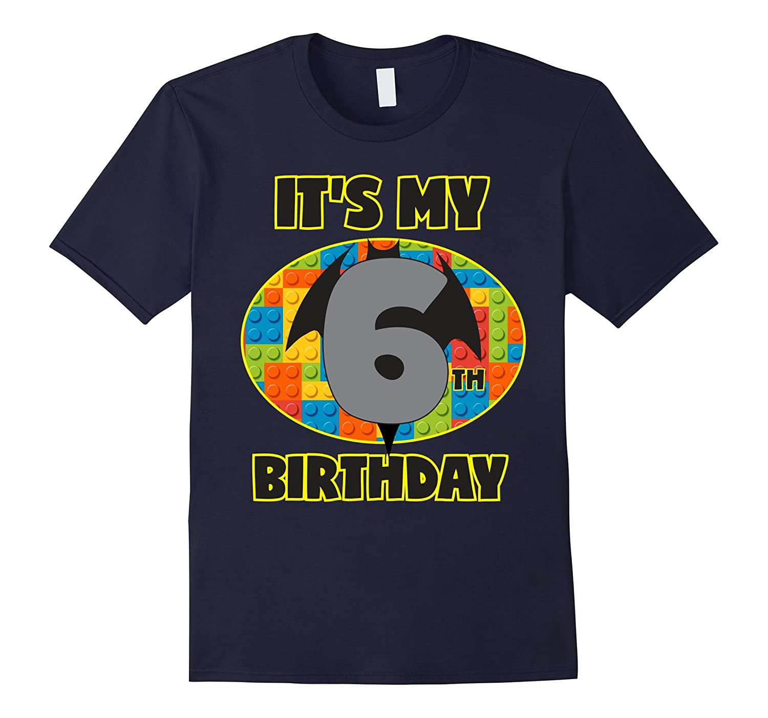 Birthday Shirt For Boys Age 6 Blocks Bricks Theme Girls-TD
