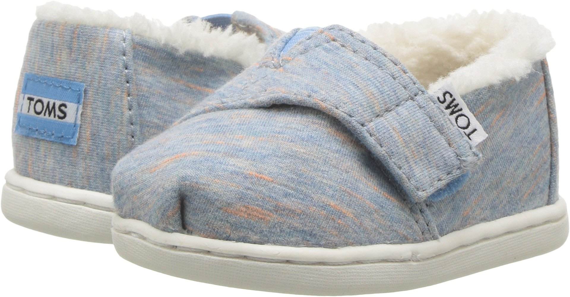 TOMS Kids Baby Girl's Alpargata (Infant/Toddler/Little Kid) Alaskan Blue Heather Jersey/Faux Shearling 10 M US Toddler