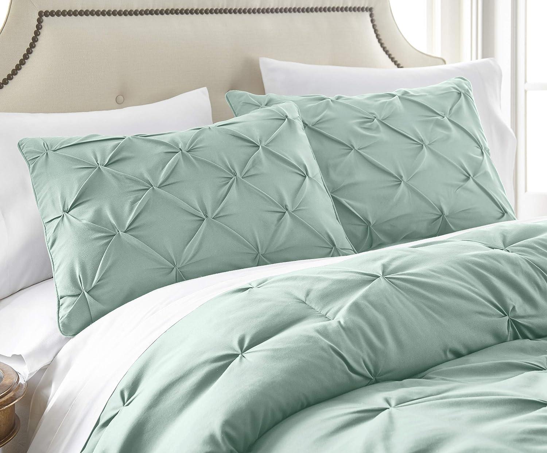Chezmoi Collection Sydney 7-Piece Pintuck Bedding Comforter Set Queen, Seafoam Green