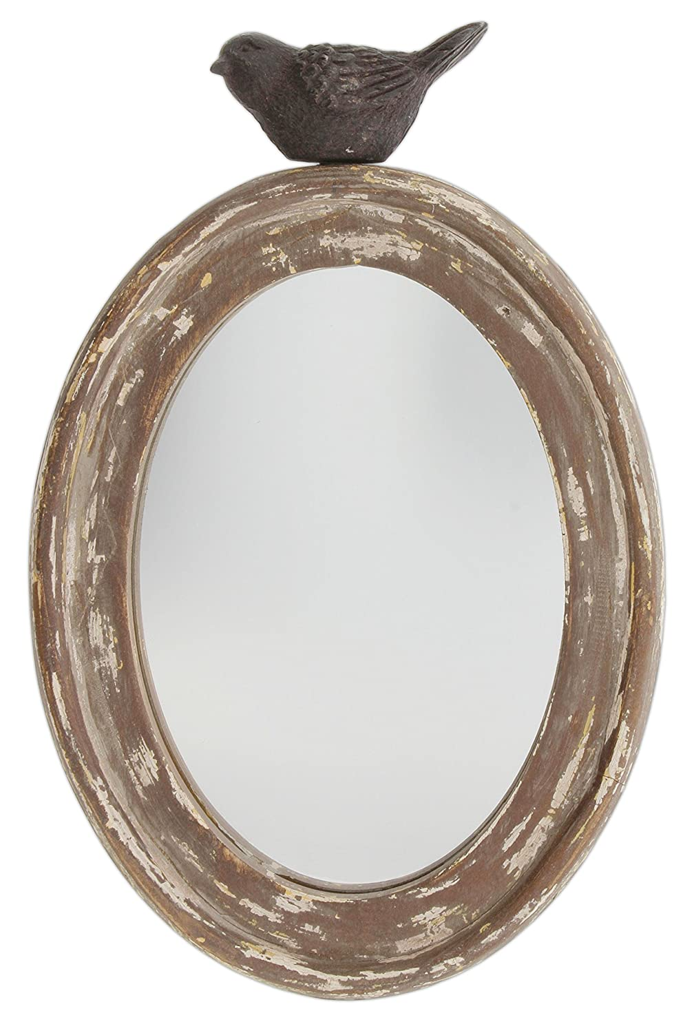 Park Hill 9.5 Distressed Wood Framed Oval Mirror with Bird Topper