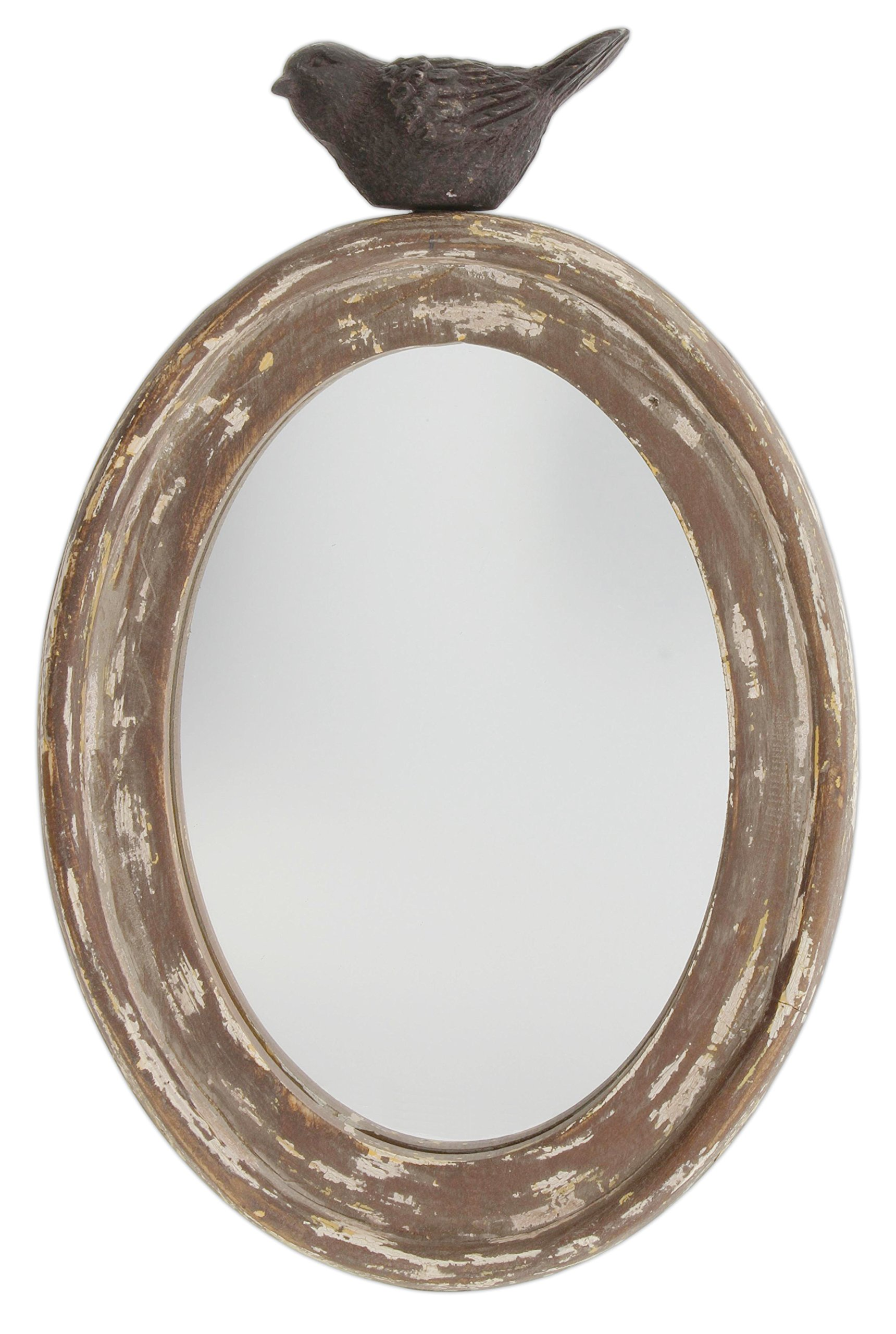 Park Hill 9.5'' Distressed Wood Framed Oval Mirror with Bird Topper
