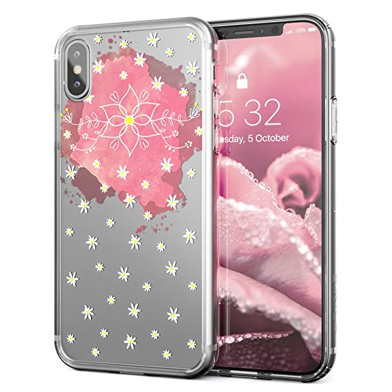 separation shoes 09a1e 9228e Crave iPhone X Case, iPhone 10 Case, Clear Guard Protection Case for Apple  iPhone X (5.8 inch) - Floral Chamomile Edition