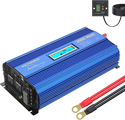Amazon Com Pure Sine Wave 2000watt Car Power Inverter Converter Dc 12v To 120v Ac With Remote Control And Lcd Display 1 Ac Terminal Block 2 Ac Outlets 2x2 4a Usb Ports For Rv