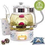 Teabloom Princess of Monaco Teapot & Blooming Tea Gift Set (6 Pieces) - 34 oz Borosilicate Glass Teapot, Porcelain Lid, Teapot Warmer, Porcelain Tea Infuser + 2 Berry Flowering Teas