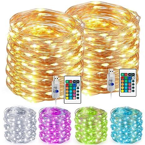 Led String Lights Multi Color Changing String Lights With Remote Usb Power Plug 33ft 100 Leds Indoor Decorative Silver Wire Lights For
