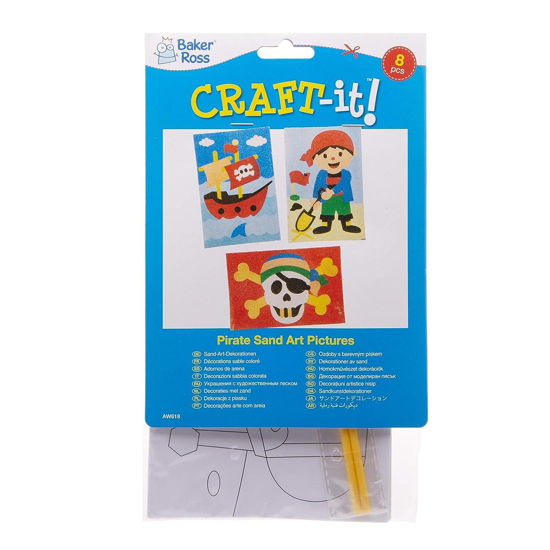 Actividad de manualidades infantiles para decorar y exhibir Pack de 8 Baker Ross Dibujos de piratas para decorar con arena