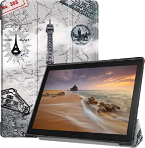 Epicgadget Case for Lenovo Tab E10 (TB-X104F), Slim Lightweight Tri fold Stand Cover Case for Lenovo Tablet 2018 Tab E 10 10.1 Inch Display (Eiffel Tower)
