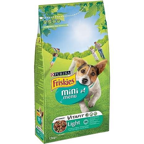 Purina Friskies Vitafit Mini Menu Light Pienso para Perro Adulto Pollo y Verduras 6 x 1
