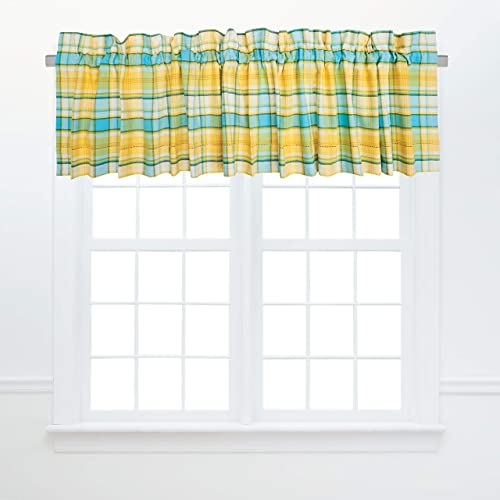 C F Home Citrus Mist Yellow Blue Plaid Window Valance Yellow