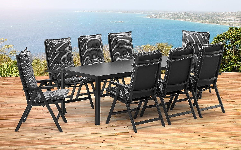 1 ausziehtisch 159 219 cm und 8 klappsessel und 8 auflagen. Black Bedroom Furniture Sets. Home Design Ideas