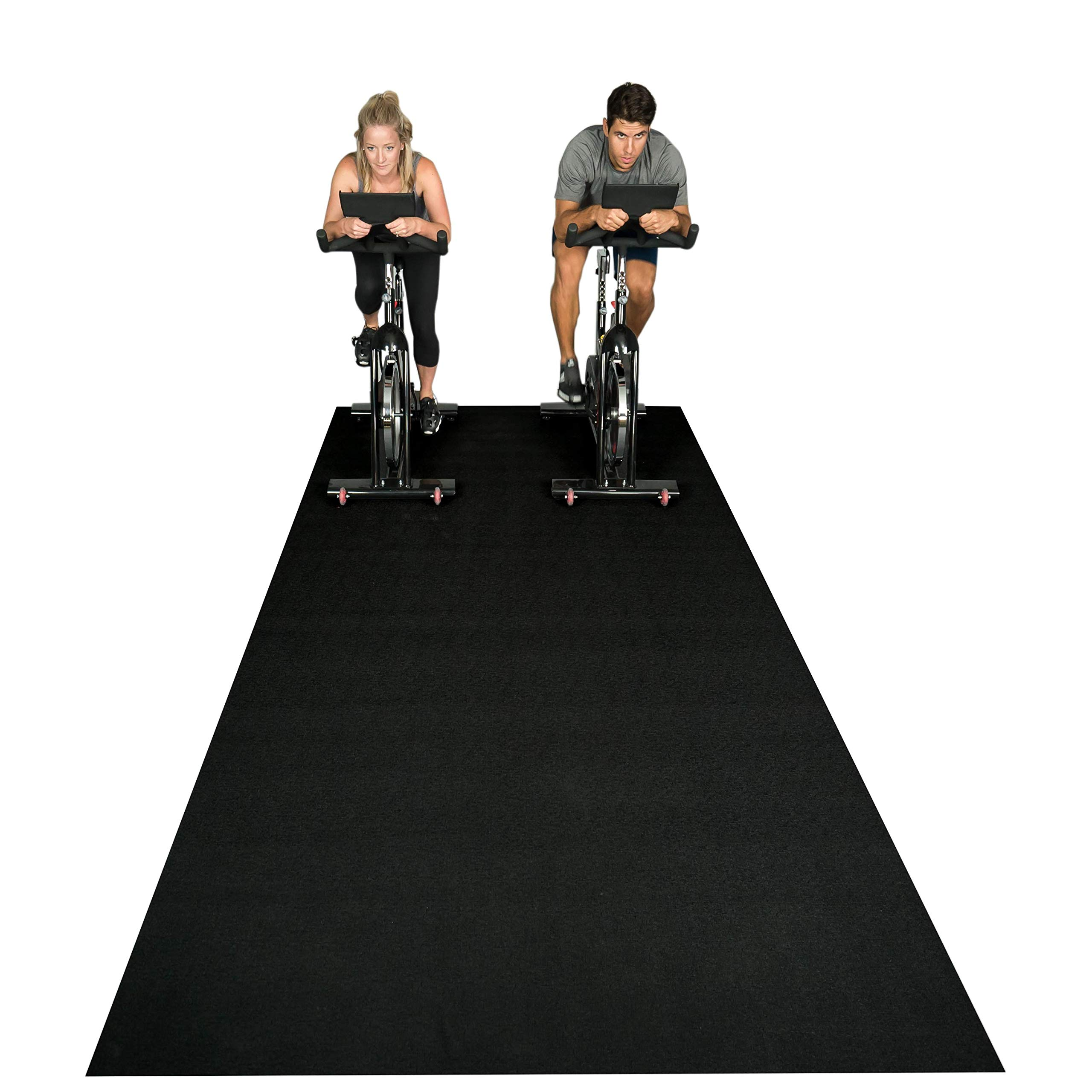 Square36 New Large Fitness Equipment Mat 12 Ft x 6 Ft. Made in Germany - Highest Grade Materials. Our Gym Flooring Mat Fits Multiple Fitness Machines - Idea for Ellipticals, Rowers, Treadmills.