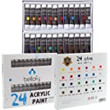24-Color Acrylic Paint Set - For Canvas, Nails, Kids, Glass, Artists, Art, Clay, Metal and Fabric