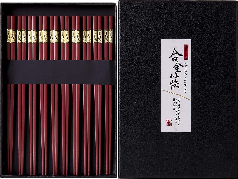 HuaLan Fiberglass Reusable Chopsticks Set Dishwasher-Safe Household/Restaurant Chopsticks 10 Pairs with Gift Case