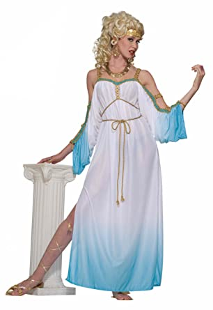 Forum Grecian Gorgeous Goddess Complete Adult Costume, White/Blue, Plus