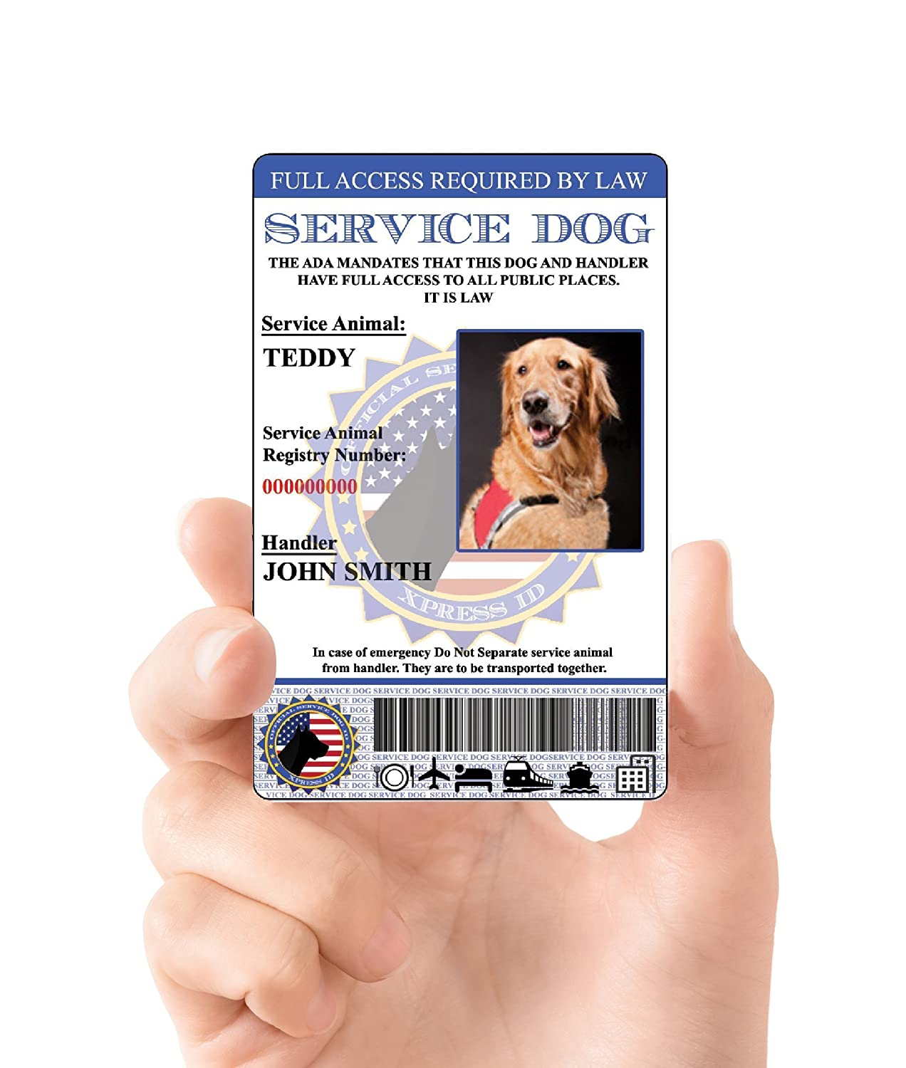 Amazon xpressid holographic service dog id card custom amazon xpressid holographic service dog id card custom includes registration to national dog registry pet supplies 1betcityfo Choice Image