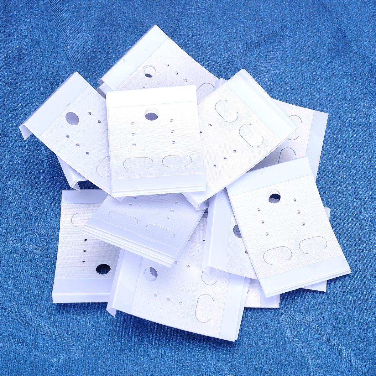 100/pcs blanco PVC pendientes pantalla tarjetas Rect/ángulo Ear Studs pantalla etiqueta etiqueta