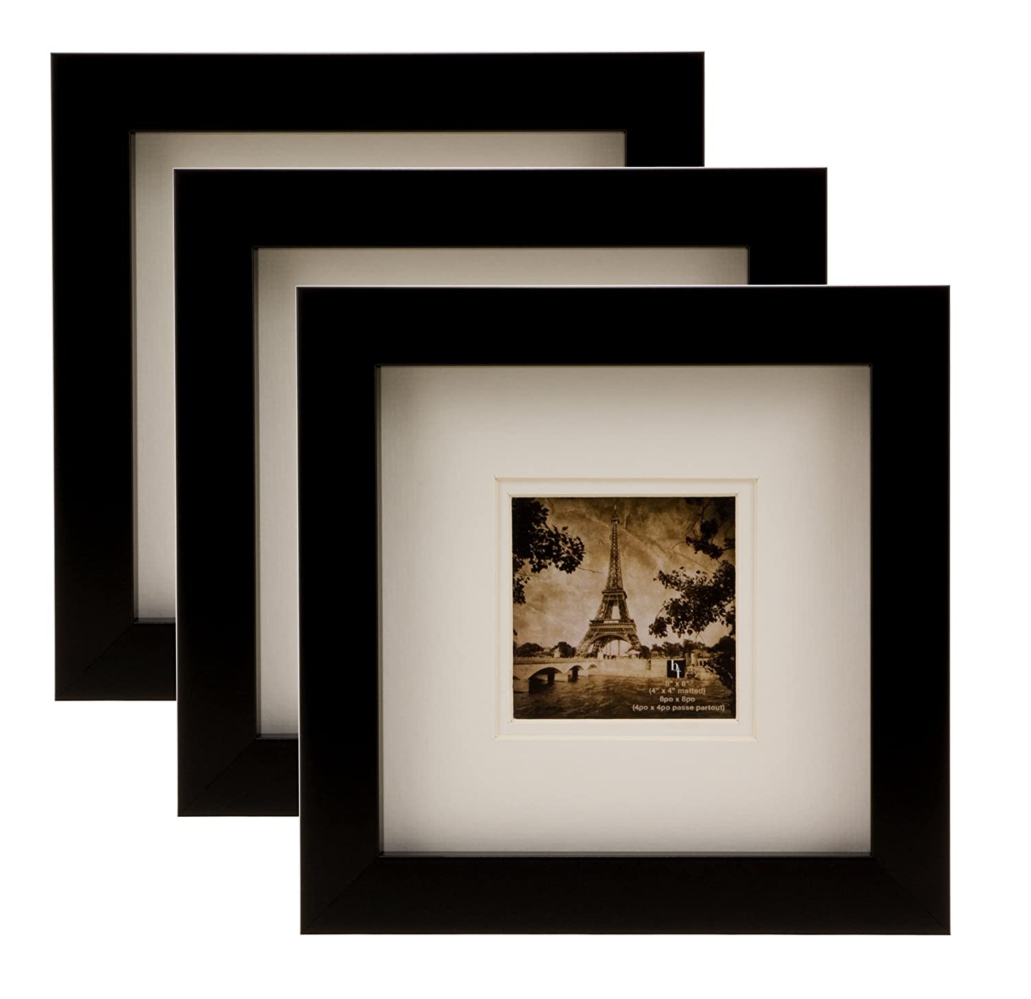 Bordertrends Nova 8x84x4 Inch Square Wall Frame Black With White