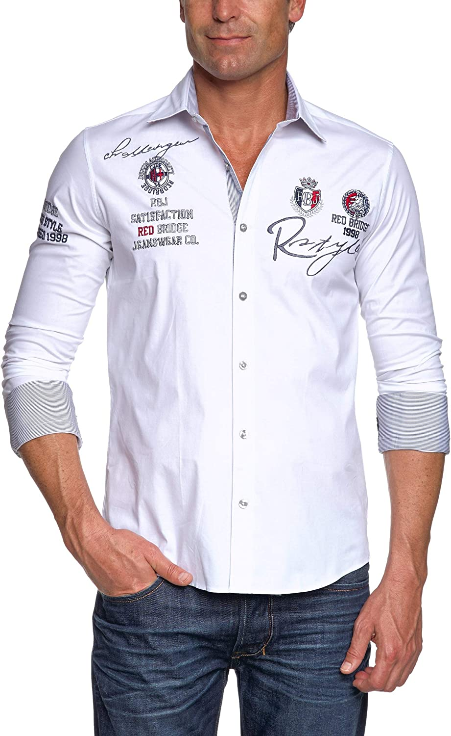 Redbridge R-2130 Camisa Regular Fit de Manga Larga para Hombre