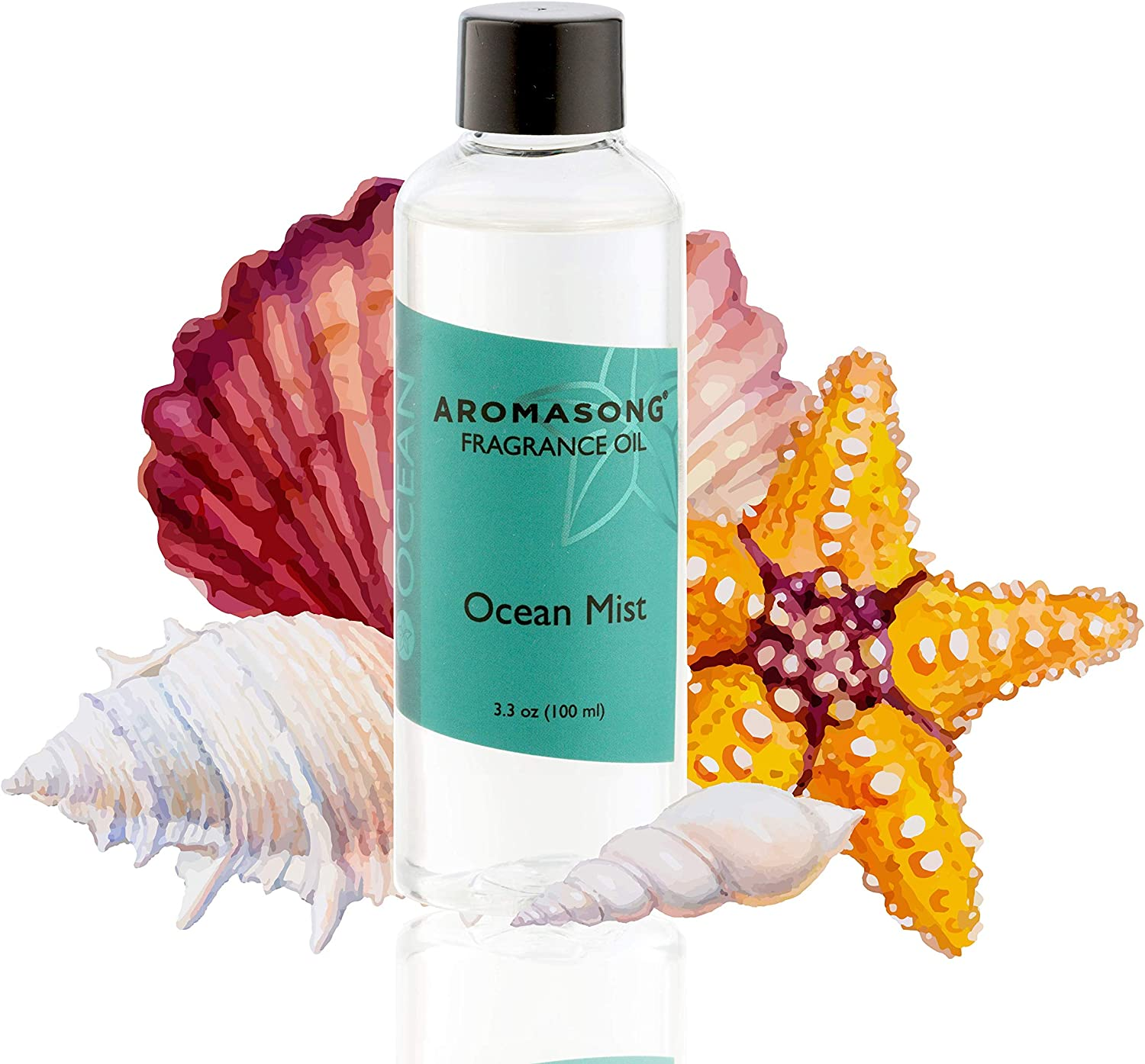 Aromasong Ocean Mist Scented Fragrance Oil Diffuser Refills for Reeds Porcelain and Electric Diffusers in Beautiful Packaging 100 ml