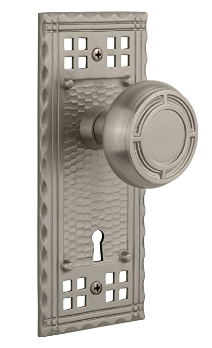 Satin Nickel Privacy Nostalgic Warehouse Craftsman Plate with Keyhole Mission Knob 2.75