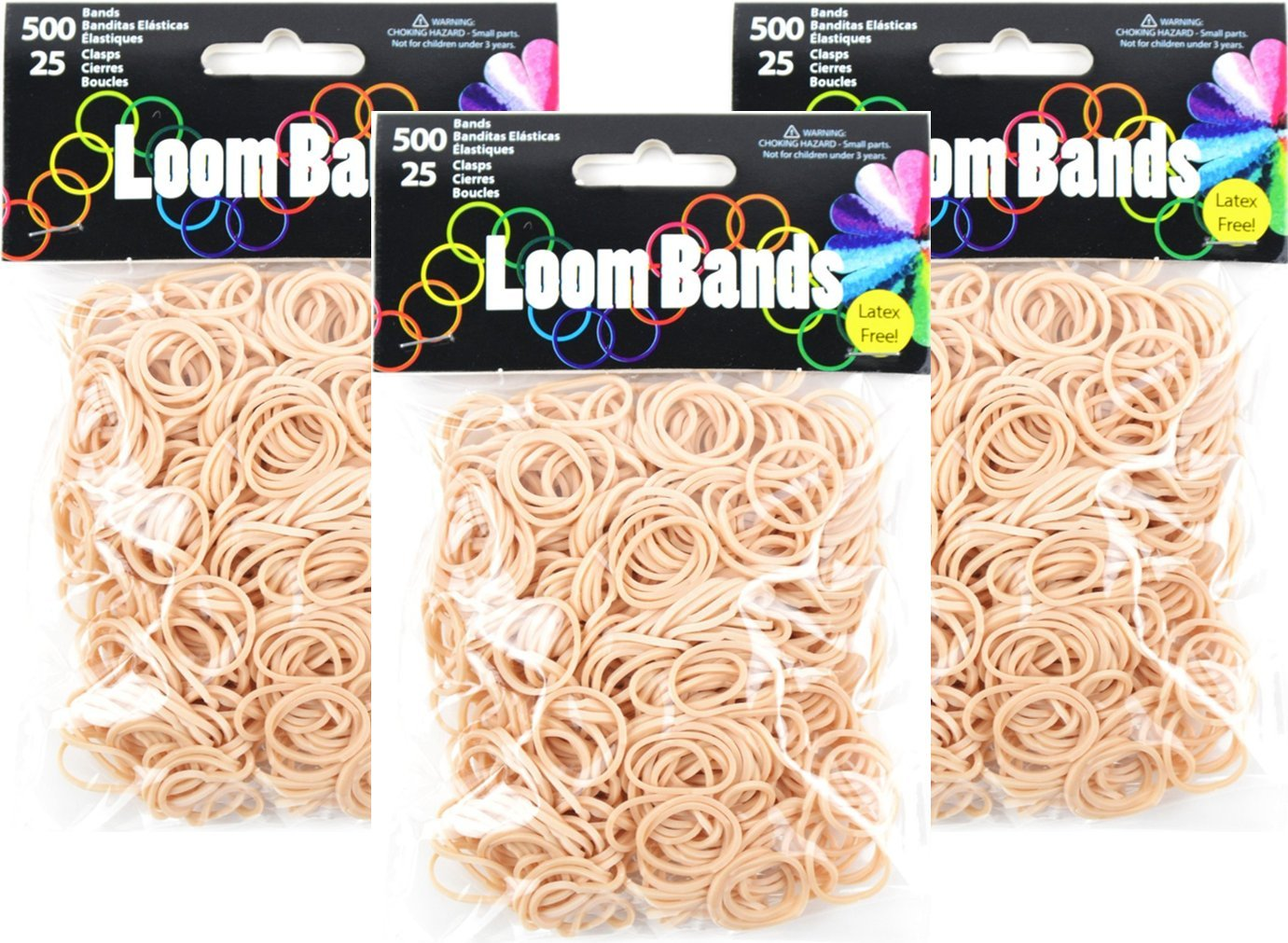 500 Bands Tan 3 50677 Midwest Design Imports Inc Loom Bands Value Pack 25 Plastic Clasps