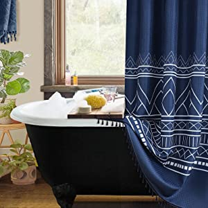 Shower Curtain Boho Navy Blue Shower Curtains Farmhouse Shower Curtain with Tassels Liner for Bathroom Restroom Fabric Water Repellent Shower Curtain Polyester Decor Navy Blue and White 72x72 Inch