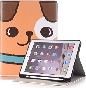 Dteck iPad 9.7 2018 2017/iPad Air 2/iPad Air Case, Multi-Angle Viewing Folio Cover w/Pencil Holder Protective Stand Cover with Auto Wake/Sleep for Apple iPad 2018/2017 9.7 Inch,iPad Air 2/1,Dog