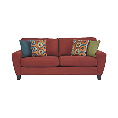 Ashley Furniture Signature Design - Sagen Sofa with 4 Pillows - Inviting Upholstery - Contemporary Living - Sienna Red