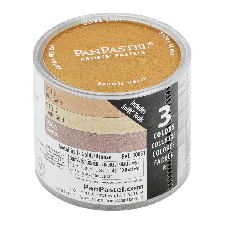 Colorfin PanPastel Ultra Soft Artist Metallic Pastel Set, 9ml, Light Gold, Rich Gold, Bronze, 3-Pack PPMTLSET-30031
