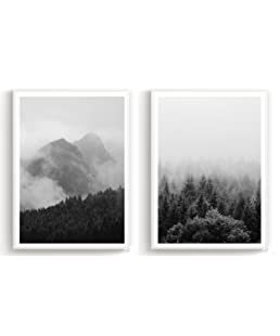 Poster Wall Office Decor Art Set of 2 - Vintage Forrest Black and White Design - 10.5x16.5in (unframed)