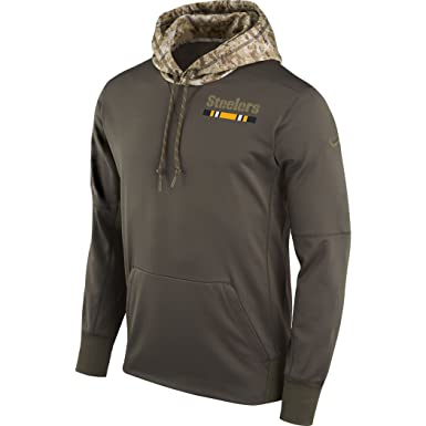 faa4b69bef0 Amazon.com  Nike - Men s Pittsburgh Steelers Olive Salute to Service  Sideline Therma Pullover Hoodie  Clothing