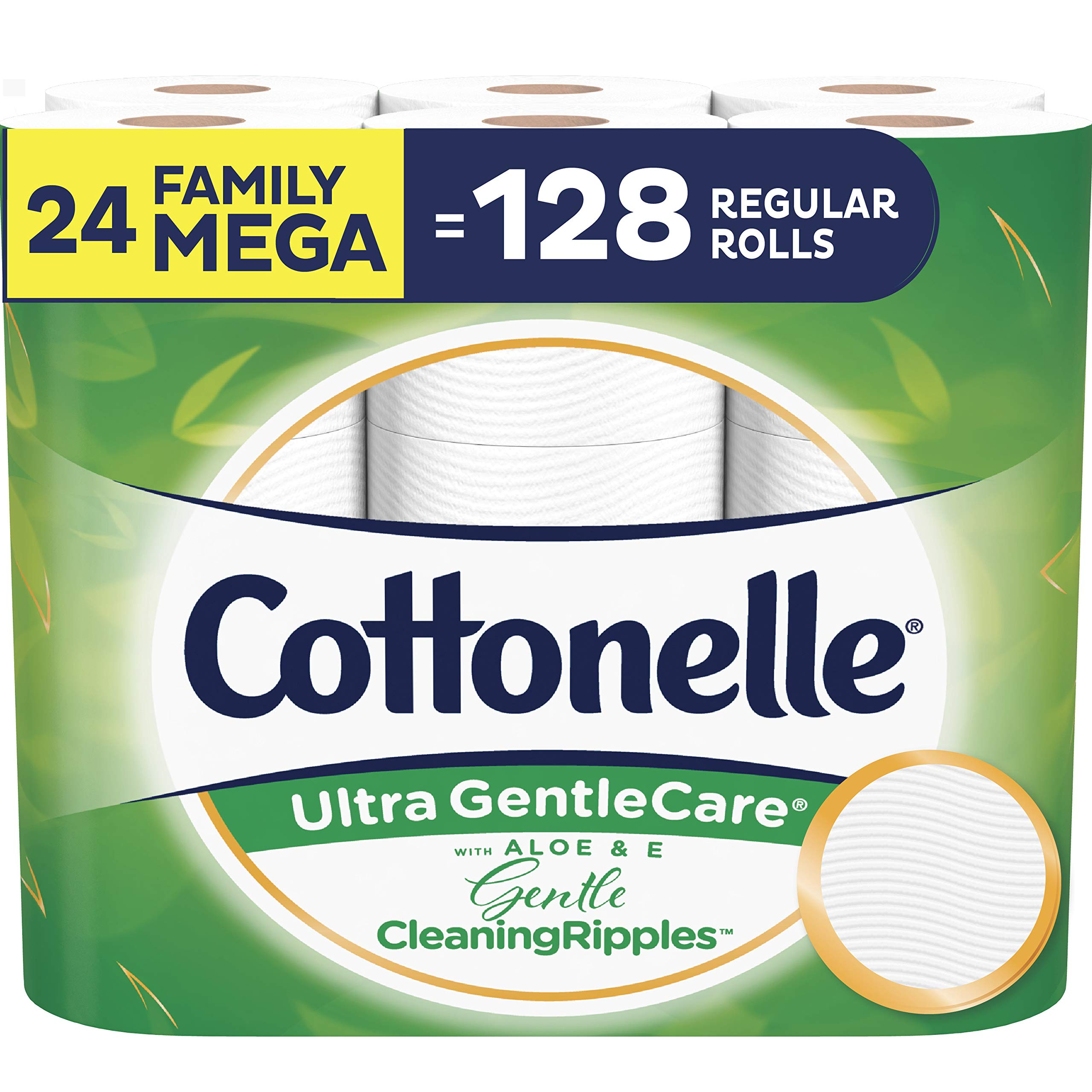 Cottonelle Ultra GentleCare Toilet Paper with Gentle CleaningRipples, 24 Family Mega Rolls, Sensitive Bath Tissue with Aloe & Vitamin E by Cottonelle