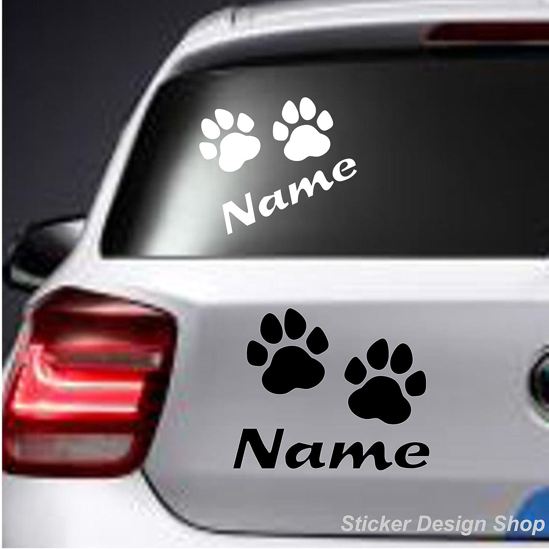 Sticker Design Shop Hunde Katze Pfoten Mit Wunschname Autoaufkleber Stiker Auto Namen Aufkleber Auto