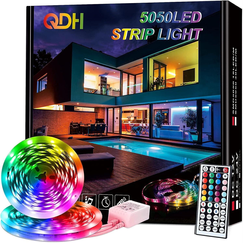 32.8FT Led Strip Lights, QDH RGB 5050 Color Changing Led Light Strips with 44 Keys IR Remote and 12V Power Supply Led Light Strips, Led Lights for Bedroom, Home, Kitchen, Dorm Room, Bar, TV