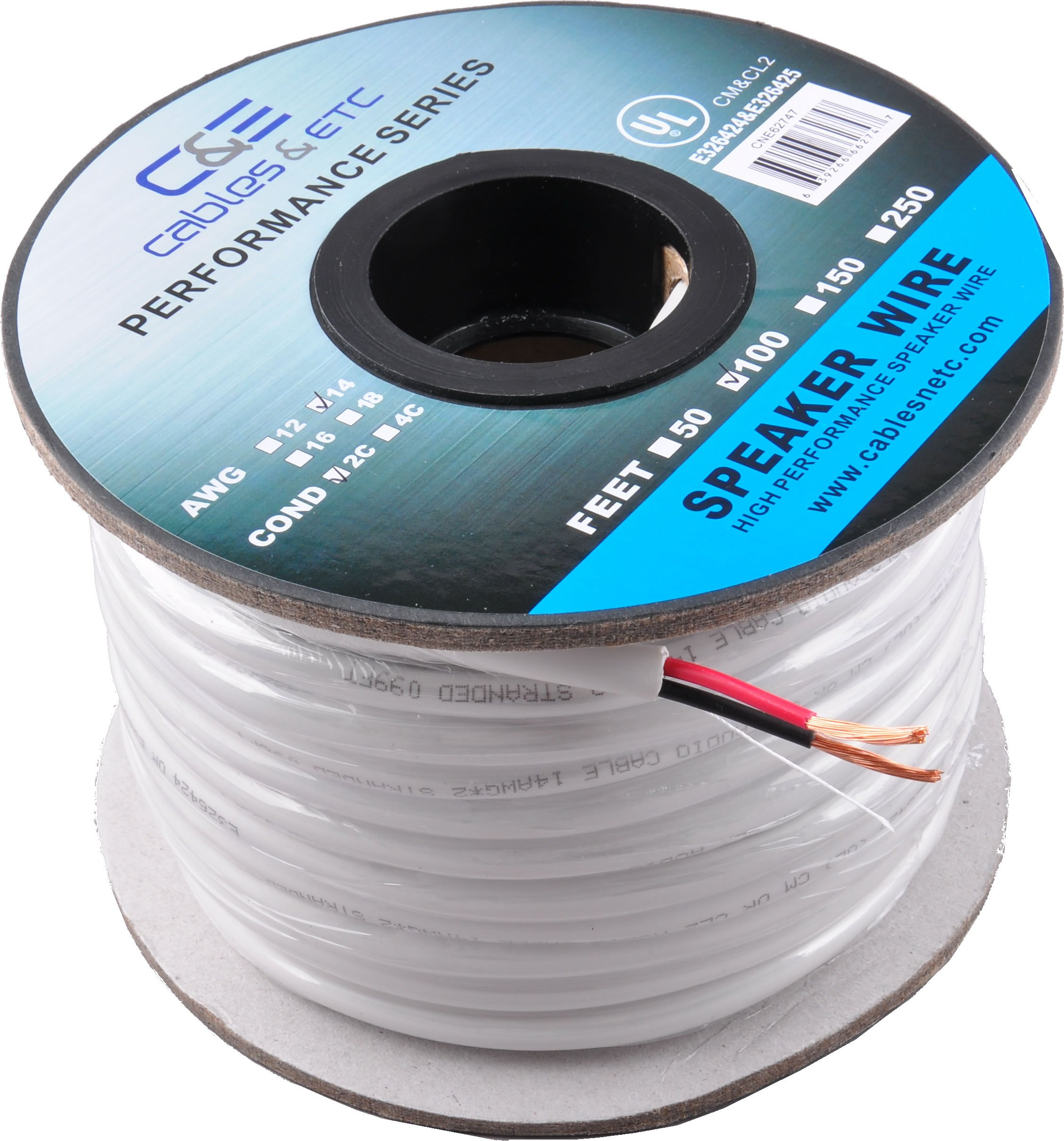 14AWG Speaker Wire CL2 In Wall Rated Oxygen Free Bare Copper 100 Feet (30.48 Meters) 99.9% Oxygen Free Copper (OFC) 2 Conductor Loud Speaker Wire Cable 100ft (30.48M) by C&E