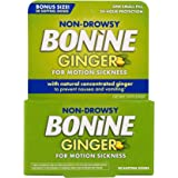 Non Drowsy Bonine Ginger for Motion Sickness, Sea Sickness, Car Sickness & Nausea Relief with Natural Ginger, 20 Count