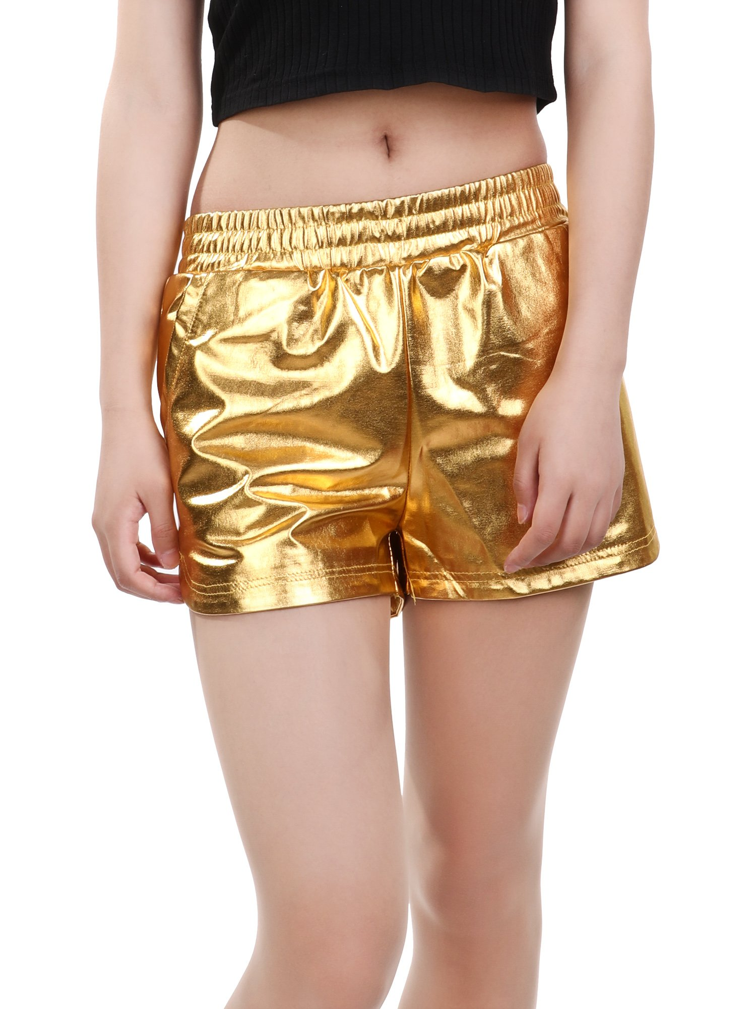Skylety Metallic Shiny Shorts Women Sparkly Hot Shorts Girl Yoga Outfit Casual Loose Shorts (L Size, Gold) by Skylety (Image #1)