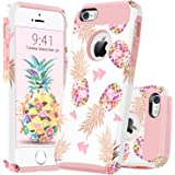 GUAGUA iPhone 5 Case iPhone 5S Case iPhone SE Case Colorful Pineapple Shockproof Slim Durable Hybrid Hard PC Flexible TPU Glossy Cover Anti-Scratch Protective Phone Case for iPhone 5 5S SE Rose Gold