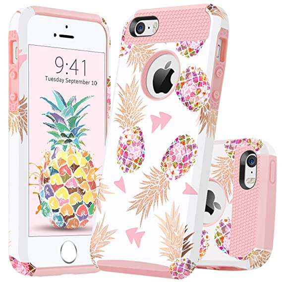 c4e1223031ac GUAGUA iPhone SE Case iPhone 5S Case iPhone 5 Case Pink Pineapple Women  Girls Slim Dual