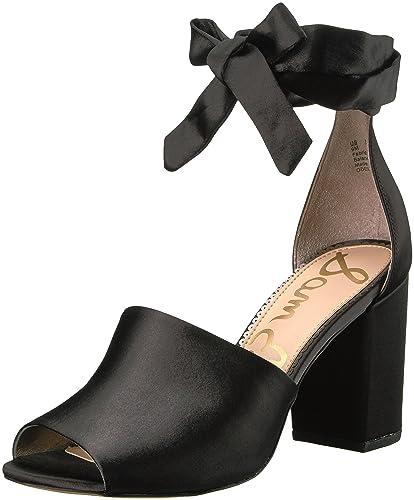 Sam Edelman Women's Odele Heeled Sandal, Black Satin, 10 Medium US