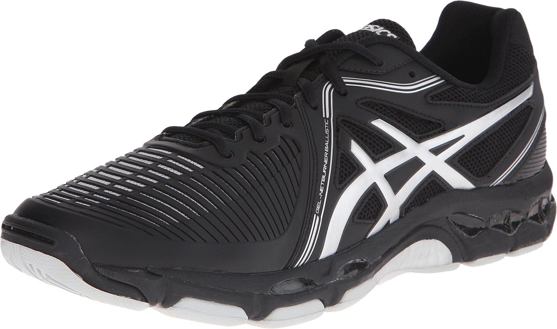 ASICS Men's Gel-Netburner Ballistic Volleyball Shoe, Black/Silver, 6 M US